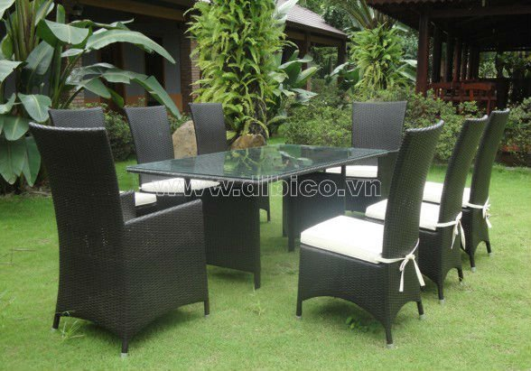 PE wicker Dining Table Set/ 9 pcs rattan dining set/ Outdoor furniture