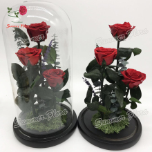 wholesale preserved roses in glass 3 pieces A grade rose flask for Valentine's Day