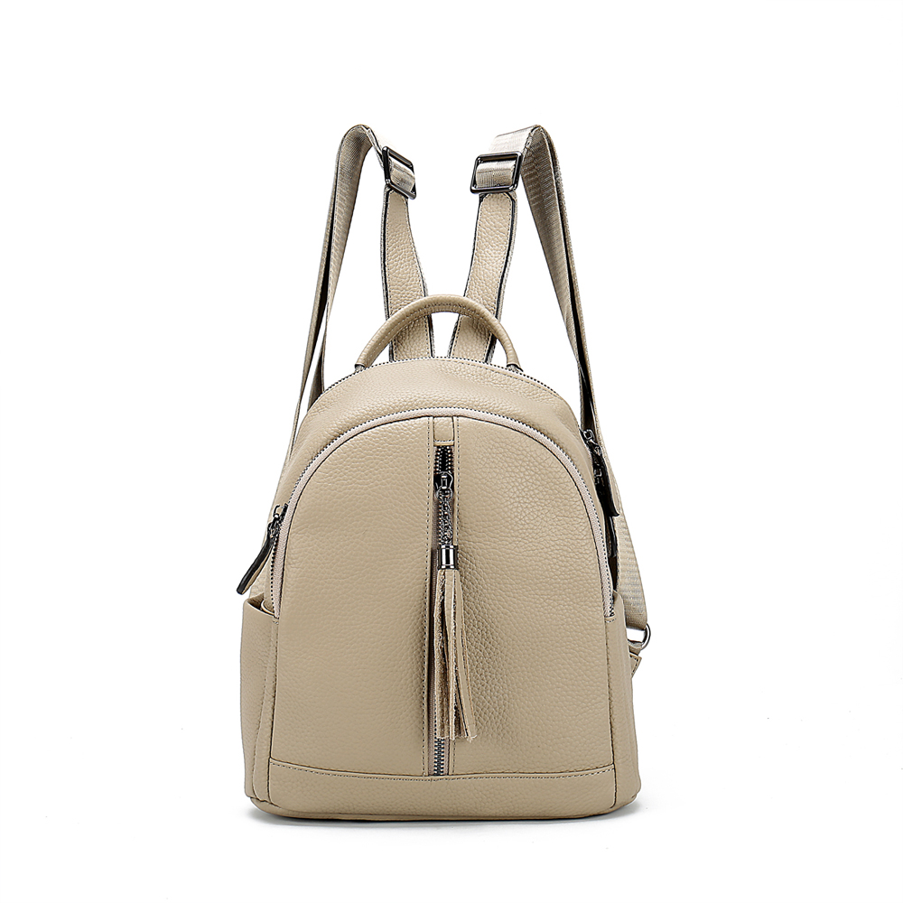 School Beige genuine leather backpack <strong>bag</strong> with tassel