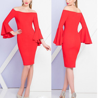 Sexy Off The Shoulder Dress Bell Sleeve Fitted Women Cocktail Dresses