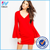 Yihao Wholesale High quality fashion ladies Dress simple chiffon women dresses red dress 2016 new design