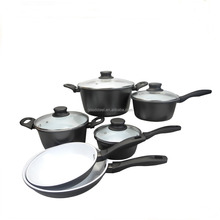 MSF-6656-2 Professional cookware 10pcs pressing aluminum cookware set white healthy ceramic coating for South America cookware