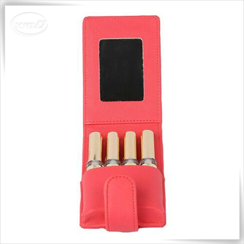 Customized leather lipstick case with mirror