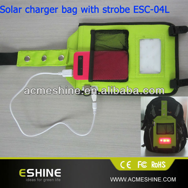 2014 Fashion laptop solar charge bag for outdoor emergency charge with lighting function in high quality