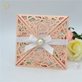 Blush peach laser cut elegant flower wedding invitations wrap