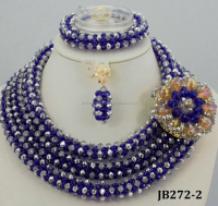 JB273-2 New African Wedding Jewelry Sets Fashion Royal Blue Handmade Crystal Beaded Necklace Set