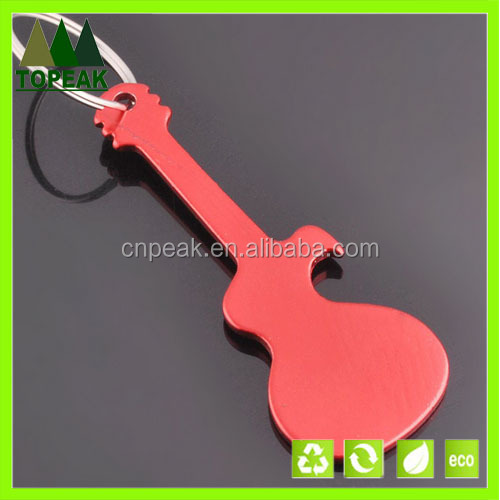 Custom design aluminium guitar design bottle opener keychain