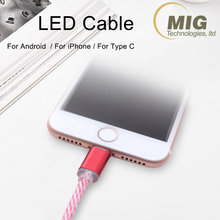 2A Android Micro USB charger data cable in LED flash 1M 2M wire USB cable phone accessories mobile