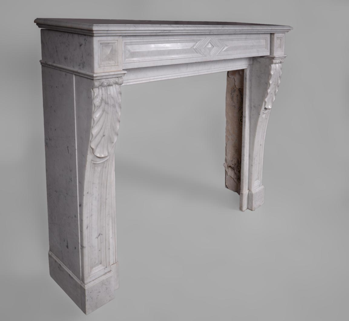 Modern Style Indoor Used Carrara White Marble Fireplace Mantel