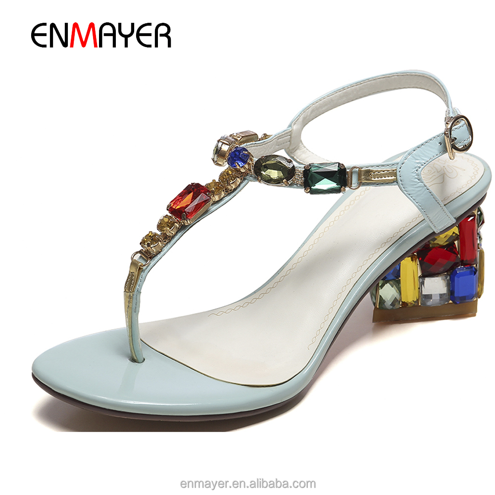 Hot sale honey girls light blue sheep skin colorful rhinstone clip toe crystal low heel thongs sandals