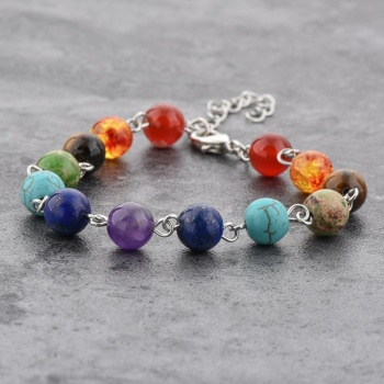 New Bracelet Jewelry Designs Chakra Bracelet, 7 Color Stone Beaded Stainless Steel Bracelet