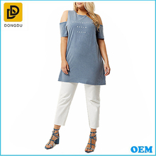 Latest women plus size light blue slogan cold shoulder loose tops and blouse