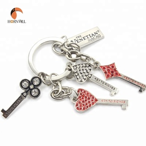 Custom Personalized Key Shape Crystal Metal Key Chain Ring