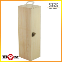 1 Bottle Wooden Wine Box with Sliding Lid & Rope Handle