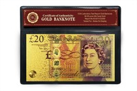 Art and Collectibles Color 24K Gold Banknote 24k Gold 20 Pound Banknote with COA Frame Best For Souvenir Gift