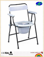 Hot sell economical folding invalid commode chair with backrest and steel frame RJ-C899