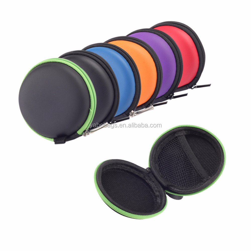 Small Round Pocket Earbud Travel Carrying Case Hard EVA Headphone Box