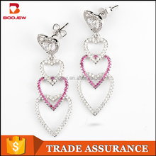 hand made heart shape 925 sterling silver girl jewelry statement drop earrings