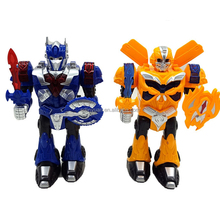 2017 hot sale battery operated transform education robot toys with light