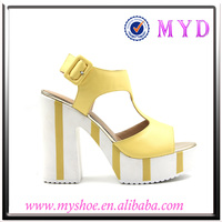 superior quality leather women summer shoes wedding party high heels shoes white platform sandals