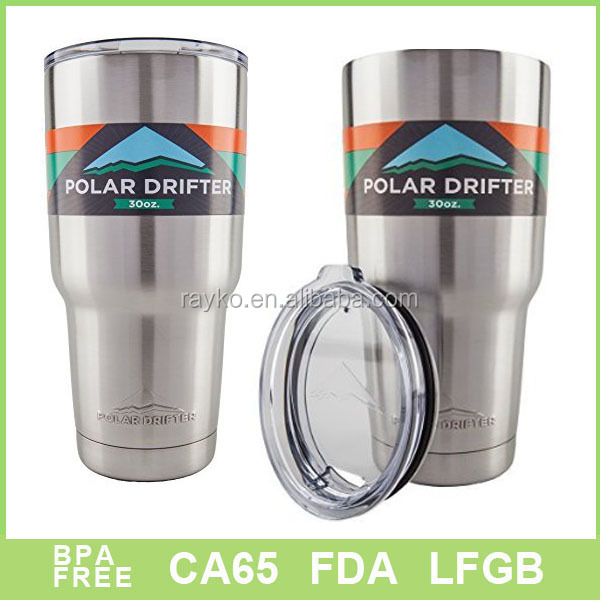 Double wall 30oz/20oz stainless steel mug/ clear plastic sliding lid/vacuum cup