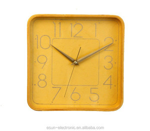 Newest design 10 inch square wood wall clock/ Decorative art clock/10 inch Wall clock/ promotional gift
