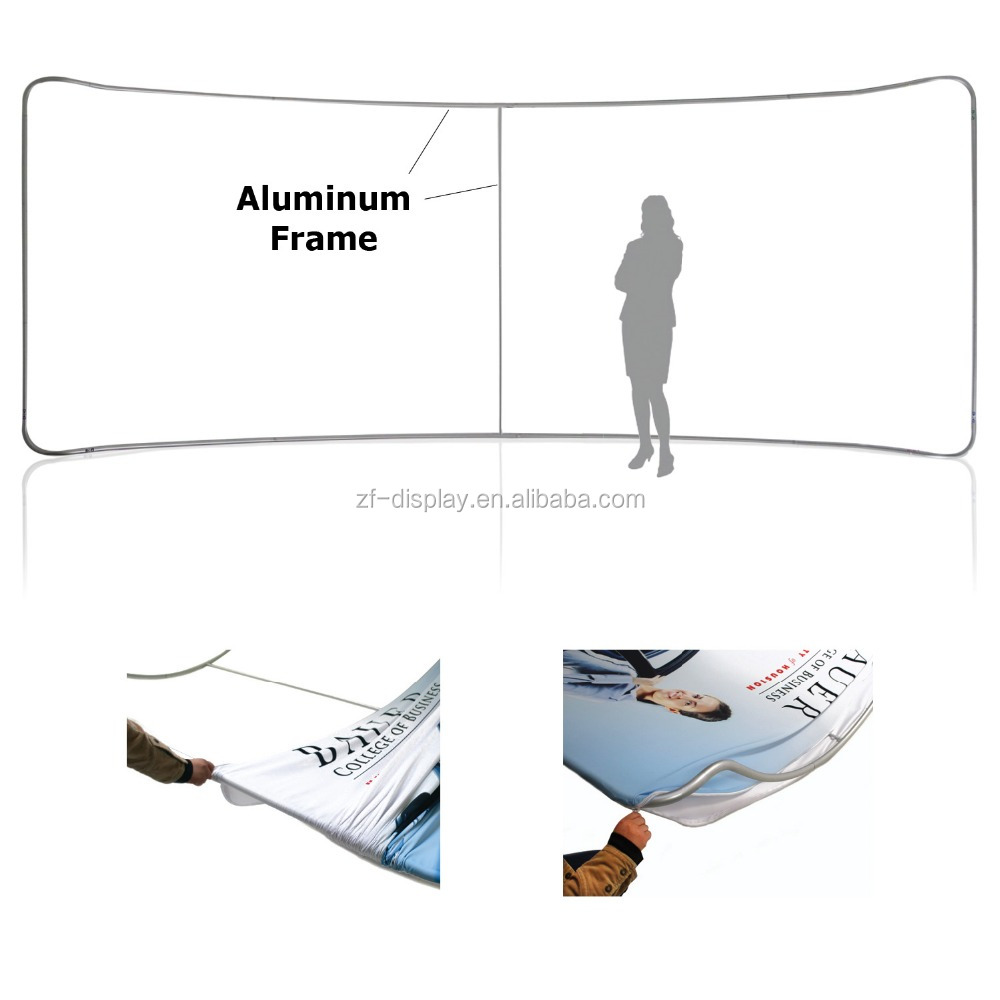 Curved Tension Fabric Exhibition Stand, A Frame Backdrop Wall Display