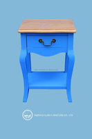Solid wood furniture blue assemble wooden cabinet with wooden drawer for home decoration design