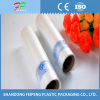 Packaging fruit, rice, fresh food, transparent flat plastic food bag on roll