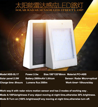 Hot selling cheap price radar micro sensor powerful led light solar for home garden yard walll fense
