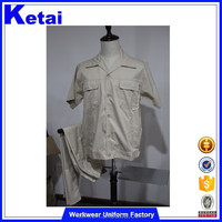 Khaki Color Short Sleeve Matched Shirt With Pants Work Suit