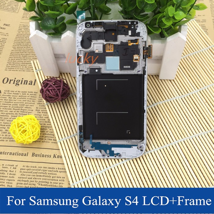 for samsung galaxy s4 gt-i9505 lcd screen with touch screen digitizer+frame replacement white black blue free dhl shipping