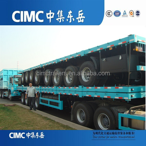 40FT 3 axle standard flatbed semi trailer with carrring 1*40FT or 2*20FTcontainer