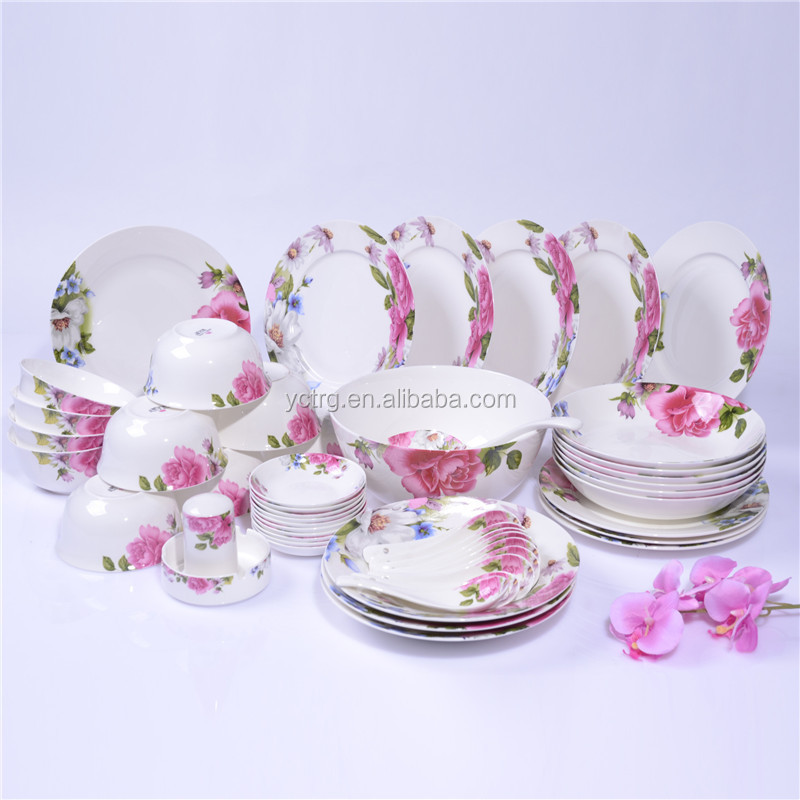 46PCS Luxury Ceramic bone china Floral restaurant dinner set