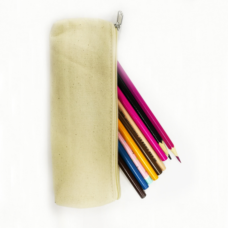 Zippered Pencil Rulers Pen Case Holder Canvas Bag Pouch