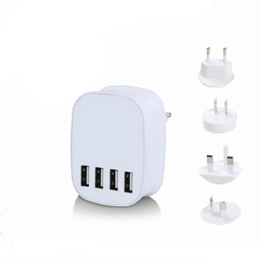 4 Port Usb Wall Charger Travel USB Battery Charger Mobile Phone Portable Adapter
