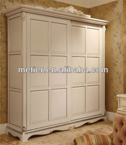 European <strong>style</strong> white bedroom wardrobe cabinet big space sliding wardrobe