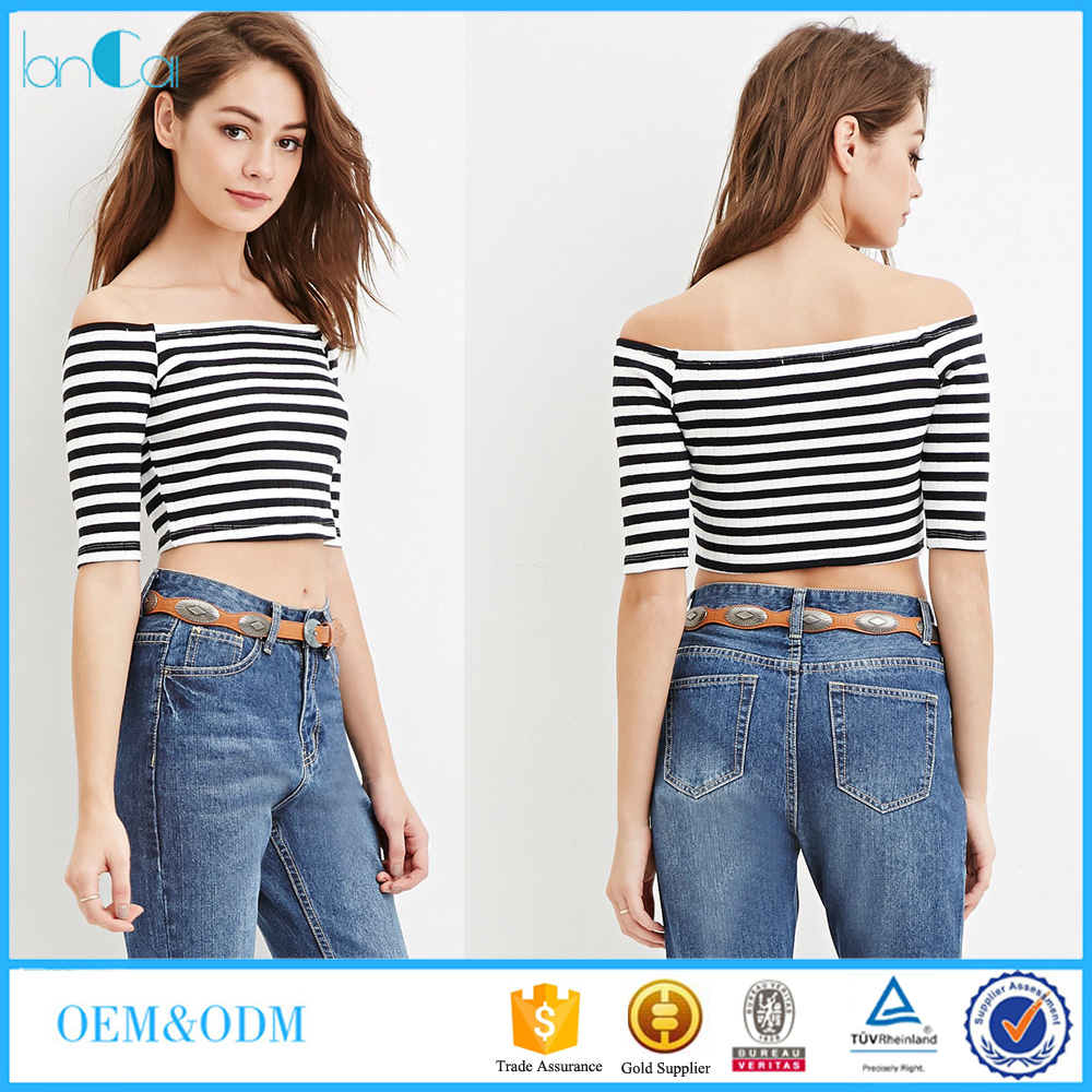 Women Clothing Manufacturers Striped girls top off the shoulder custom sexy crop top