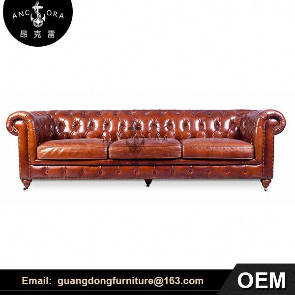 vintage leather sofa upholstered chesterfield sofa set A102 3S