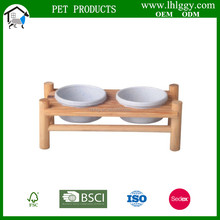 wooden Doubled Pet Bowls feeder for cat hamster bird