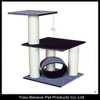 2 layers cat tree with hanging cat toy