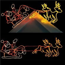 Outdoor Christmas LED Santa Sleigh and Reindeer Silhouette for Roof Display Decoration