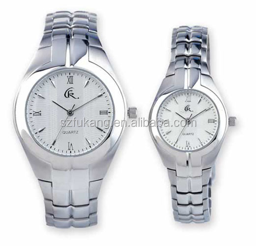 Luxury Quartz Movt Couple Watches with japanese movt stainless steel band