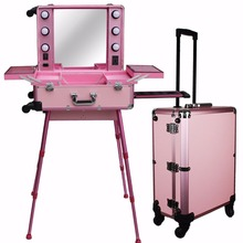 Large Pink Rolling Studio Makeup Artist Train Case with Light Cosmetic Case