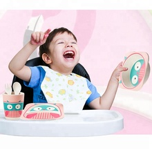 Unbreakable Cartoon Antislip Baby Utensils Safe Bamboo Fiber Baby Dinnerware Kid Children Bowl Children Tableware <strong>Plate</strong>