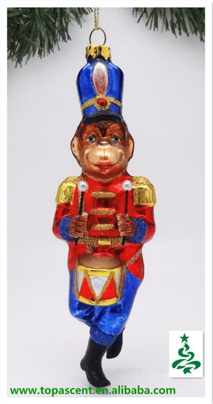 2014 traditional christmas wholesale glass animals orna. of monkey playing a drum from direct factory