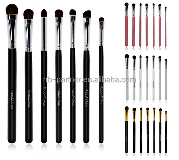 Practial wholesale 7 pcs set bag packaging eyeshadow / eyebrow / eyeliner shading brush for make up
