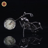 WR Fashion Table Decor Gift Metal Motorbike Clock Handmade Silver Plated Motorcycle Model Decor Craft 20.5*6*11cm