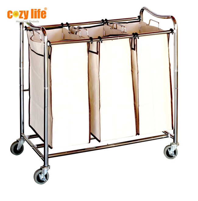 Home laundry sorter laundry hamper Heavy-Duty steel tubes High quality 3-Bag Laundry cart