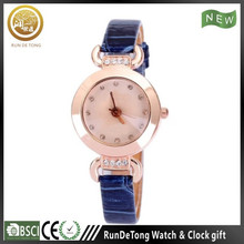 Blue diamond round case roman numberals polygon dial multifunctional wrist watch